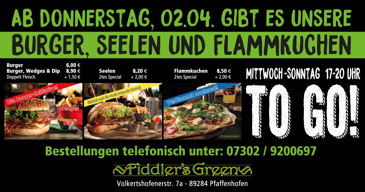 Ab Donnerstag, 02.04. gibt es unsere Burger, Seelen und Flammkuchen to go!